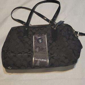 Coach signature stripe python satchel